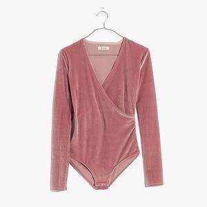 Madewell Pink Velvet Wrap Bodysuit